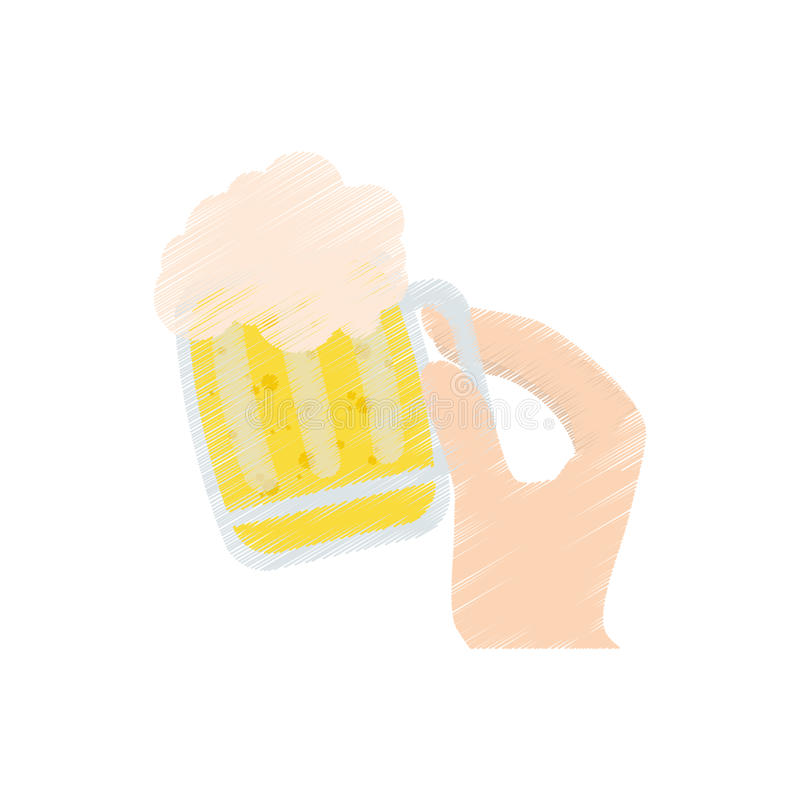 drawing hand holding saint patrick day glass beer vector illustration