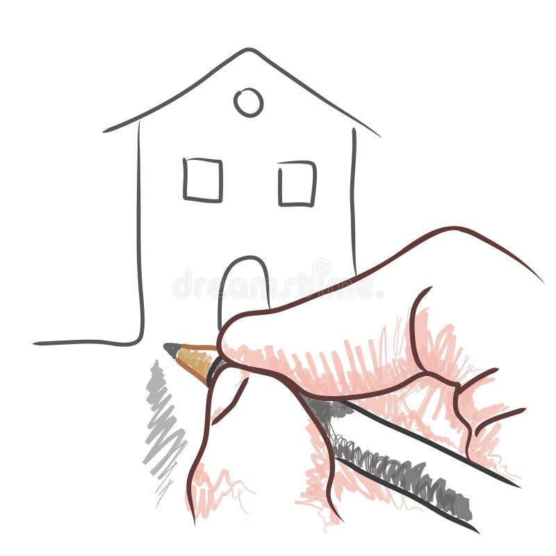 Drawing hand (vector)