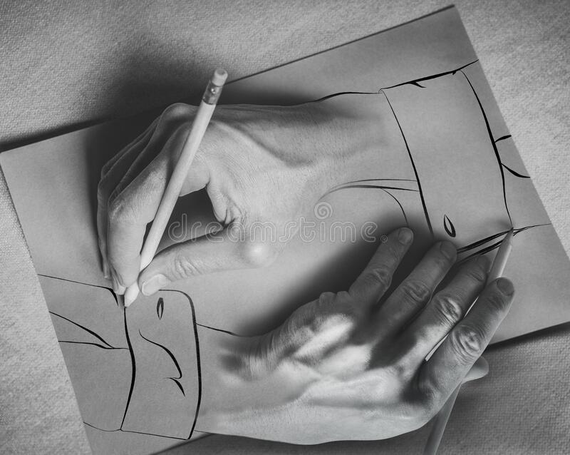 Drawing hands. Two hands draw each other with a pencil on a sheet. Photography and illustration. 3d effect.  stock photography