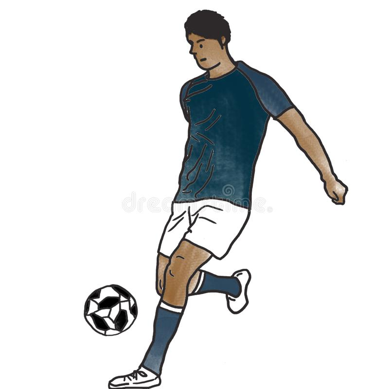 A Brazilian Football player practicing royalty free stock image
