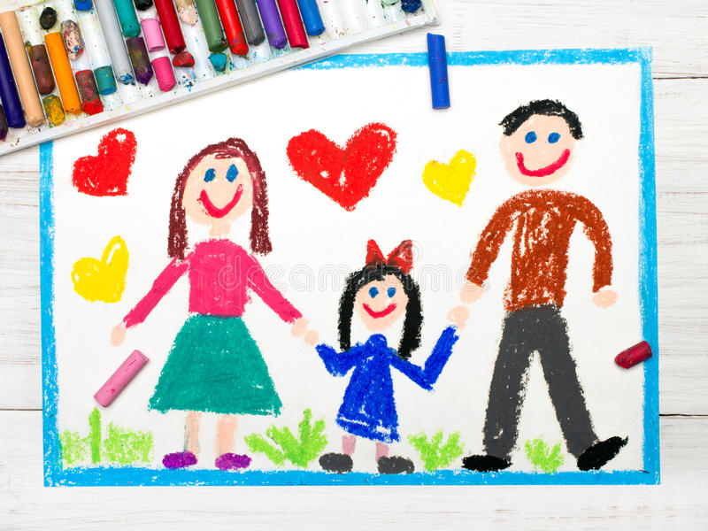 Drawing: happy family. Mother, father and daughter stock image