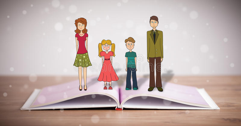 Drawing of a happy family on opened book royalty free illustration