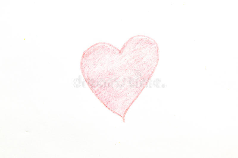 Drawing heart shape isolated on white background.  royalty free stock photo