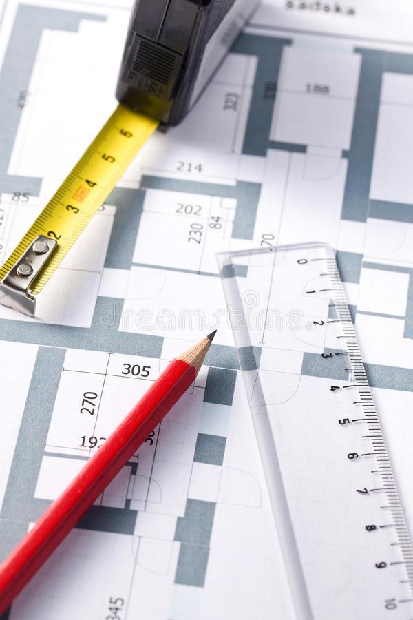 Drawing Of Home Plan Stock Photography