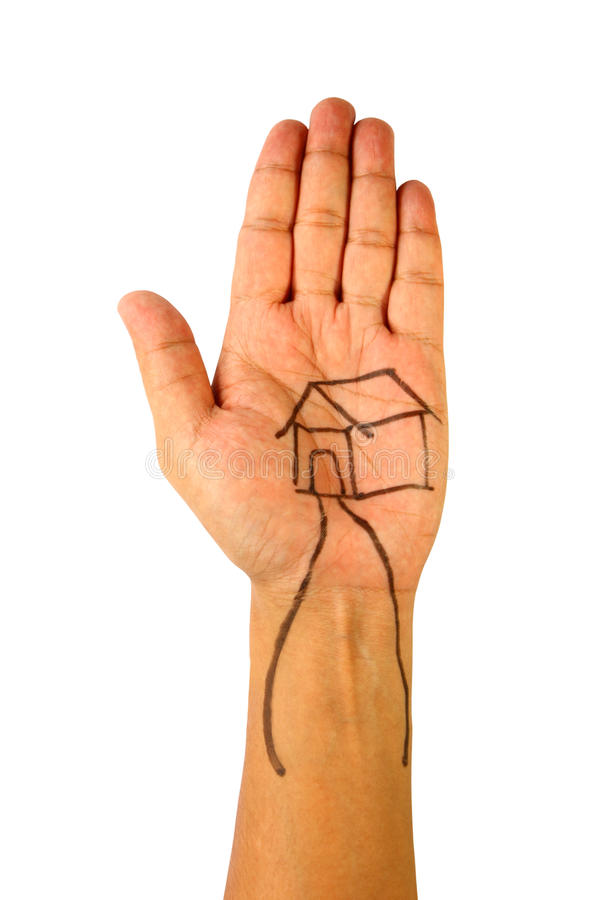 Drawing of house on hand stock photography