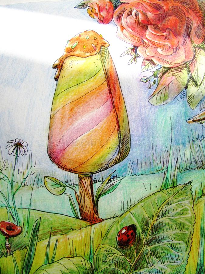 Drawing of ice cream growing on a green meadow with grass and flowers with a ray of bright sun royalty free illustration