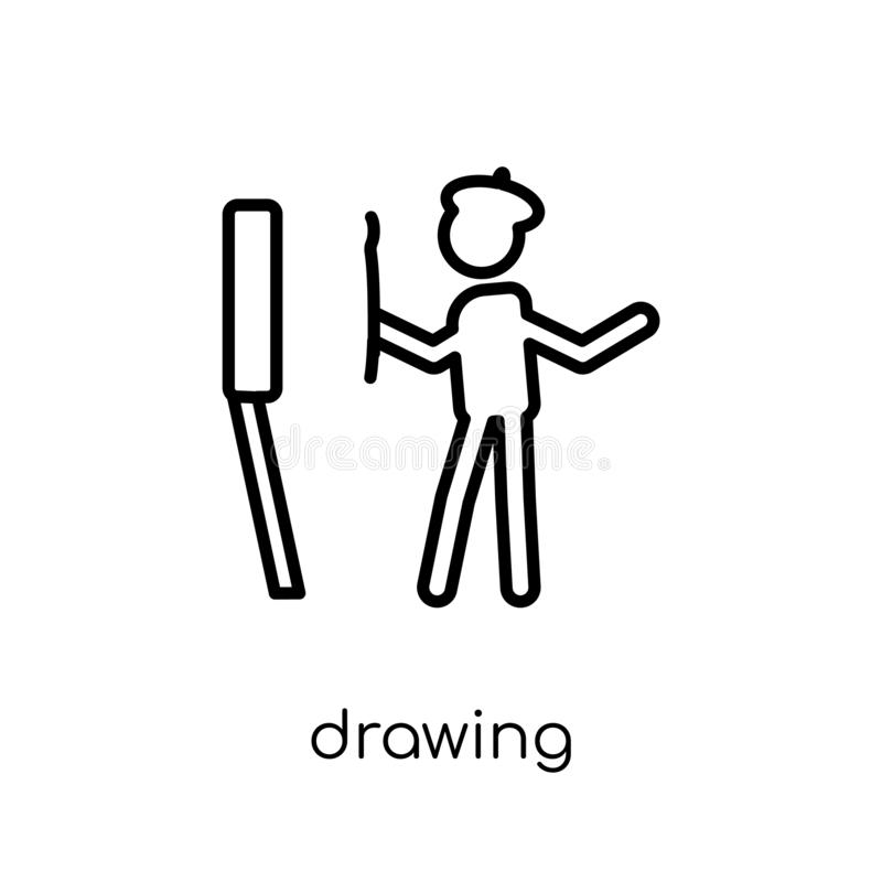 Drawing icon. Trendy modern flat linear vector Drawing icon on w royalty free illustration