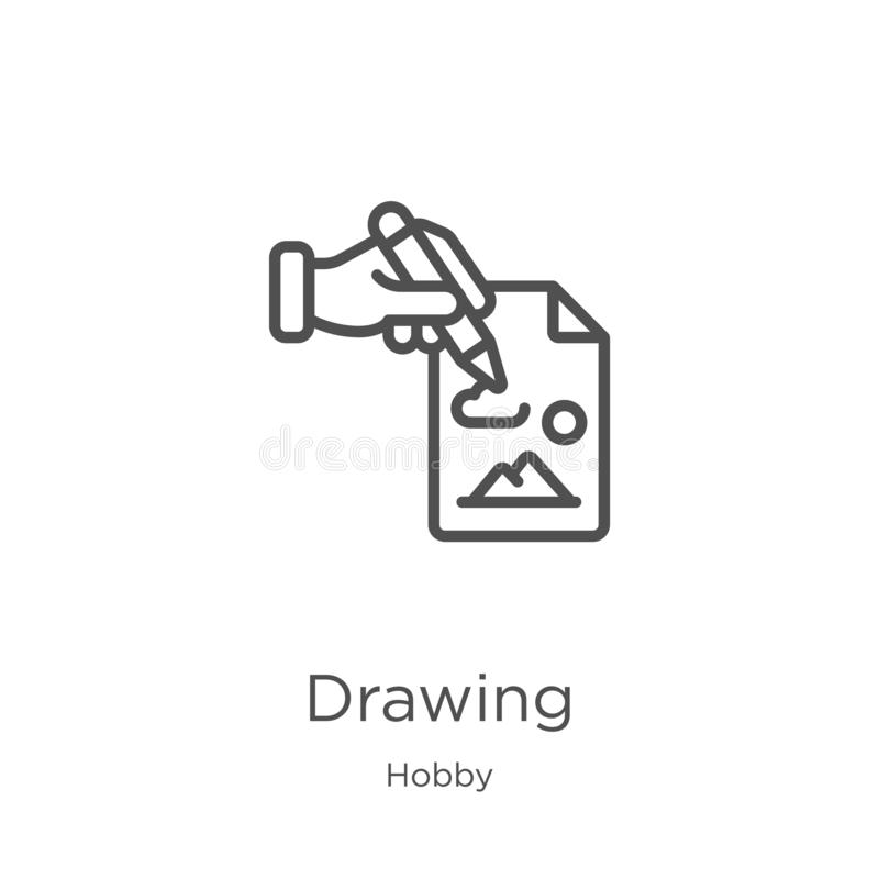 drawing icon vector from hobby collection. Thin line drawing outline icon vector illustration. Outline, thin line drawing icon for vector illustration
