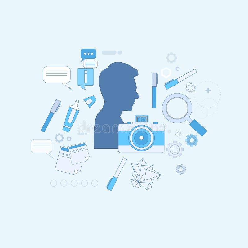 Drawing Icon Web för grafisk formgivare för designidé baner royaltyfri illustrationer