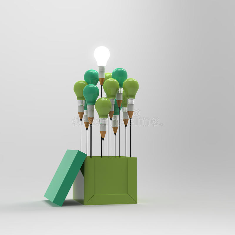 Drawing idea pencil and light bulb concept outside the box vector illustration