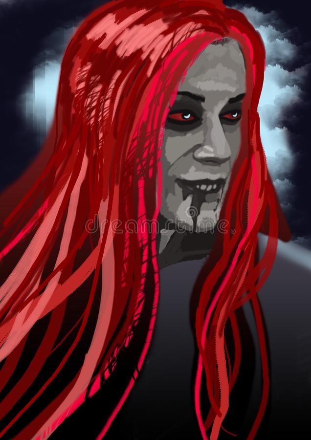 Drawing illustration of a portrait of a gloomy vampire with red hair on a dark background of dark sky. Drawing illustration of a portrait of a gloomy vampire stock illustration