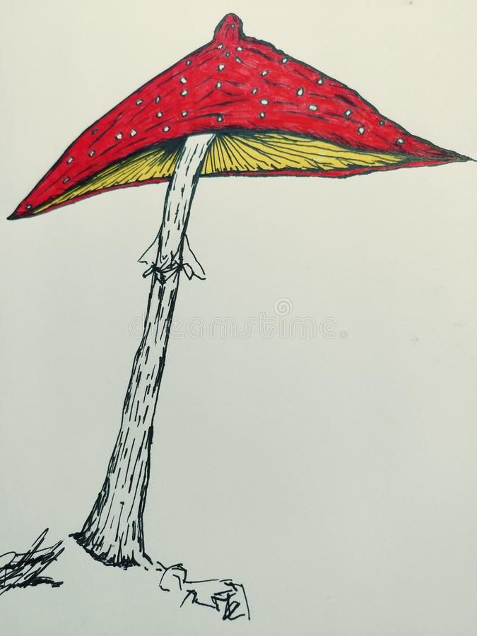 Amanita mushroom Drawing illustration trippy psychadellic sketch art random cool pics. Random trippy psychadellic sketch nature mushrooms acid drawing art pics stock illustration