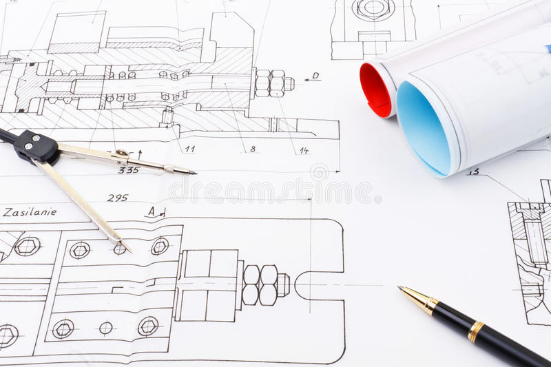 Drawing of industry detail royalty free stock photography
