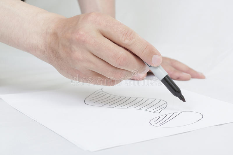 Drawing information sign on white paper. Hand drawing information sign on white paper royalty free stock photo