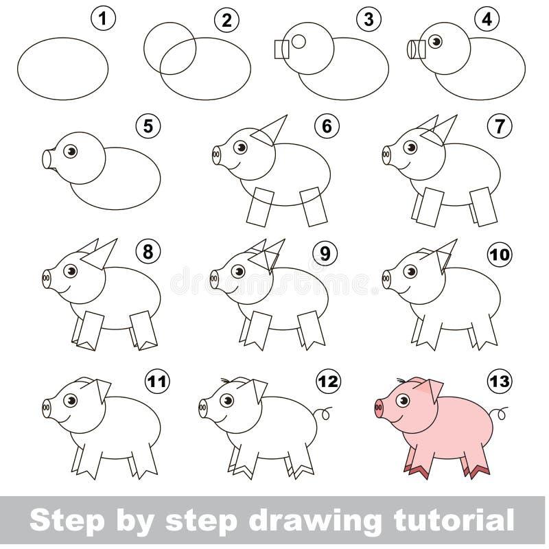 Drawing kid tutorial. vector illustration