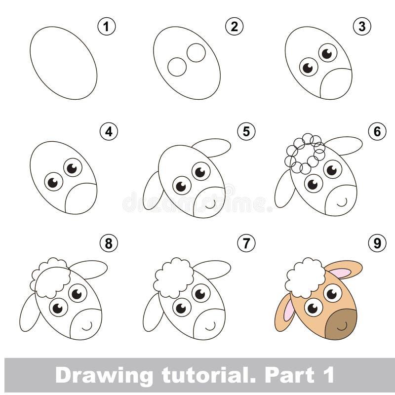 Drawing kid tutorial. royalty free illustration