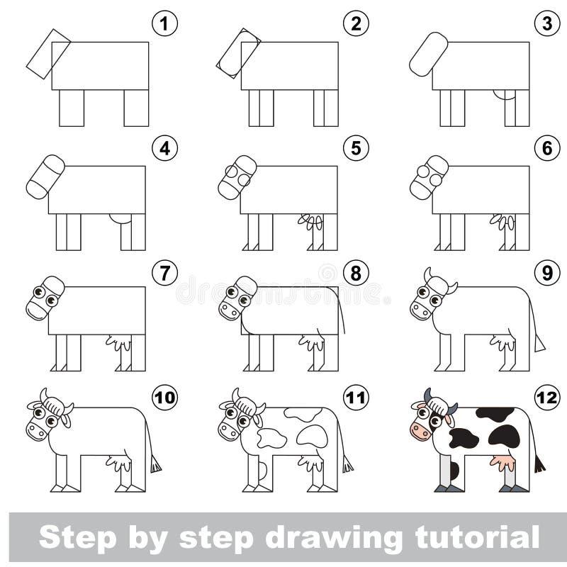 Drawing kid tutorial. stock illustration