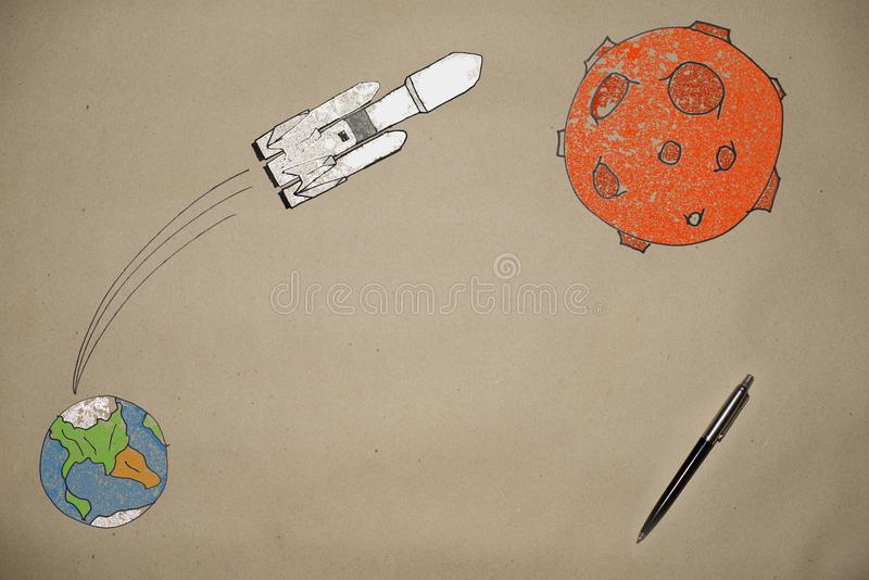 Drawing launching a rocket falcon into space on the background of the earth stock illustration