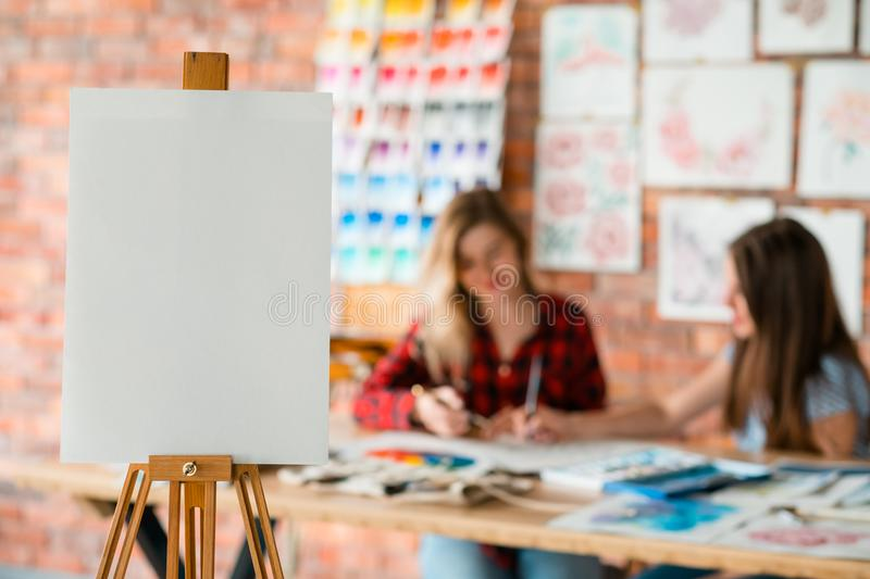 Drawing lesson art class paint school blank paper. Drawing lessons. art classes. painting school. learn to create pictures. blank canvas or watercolor paper on stock image