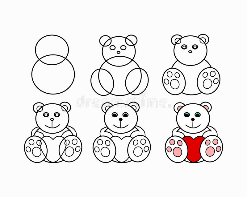 Drawing lesson bear vector illustration