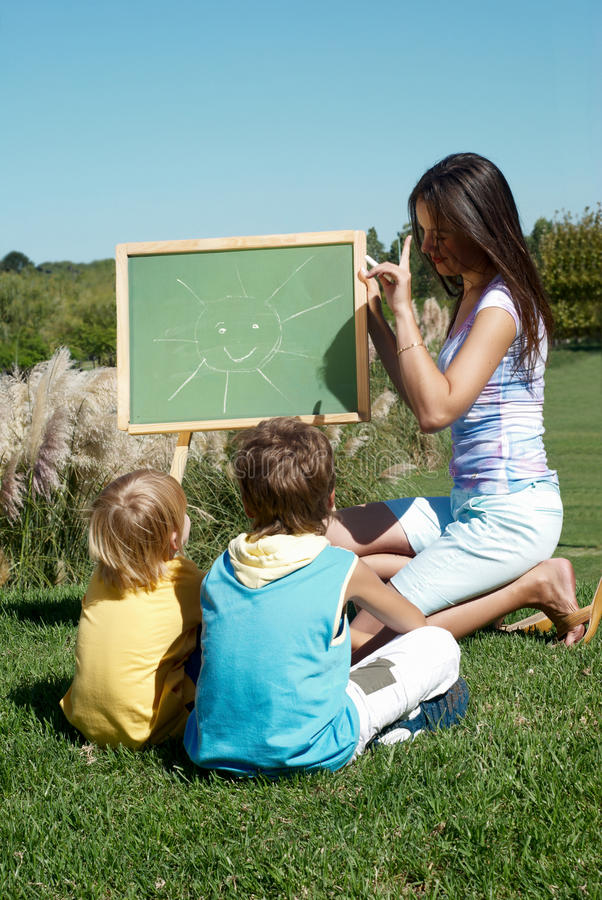 Drawing lesson outdoor. Drawing lesson on open air royalty free stock images