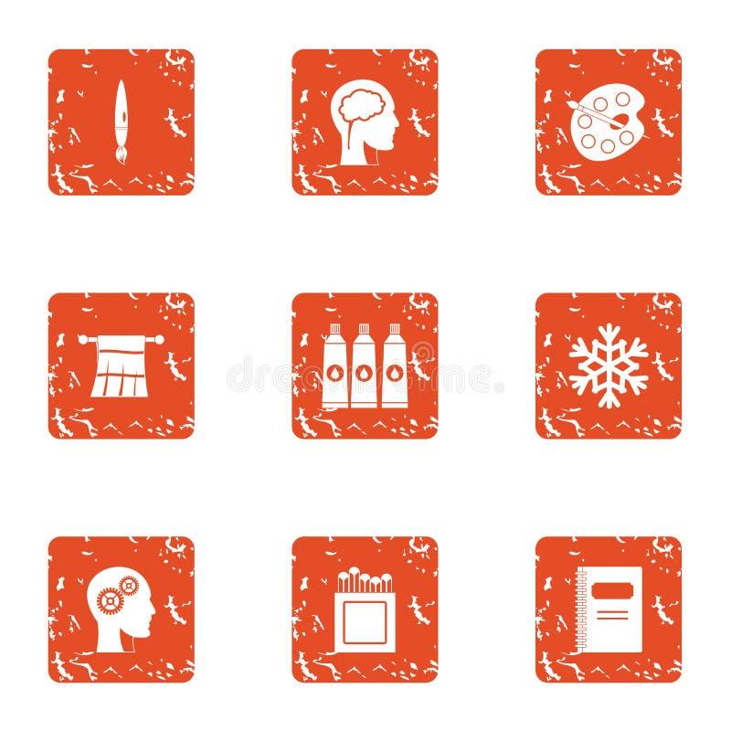 Drawing level icons set, grunge style. Drawing level icons set. Grunge set of 9 drawing level vector icons for web isolated on white background royalty free illustration