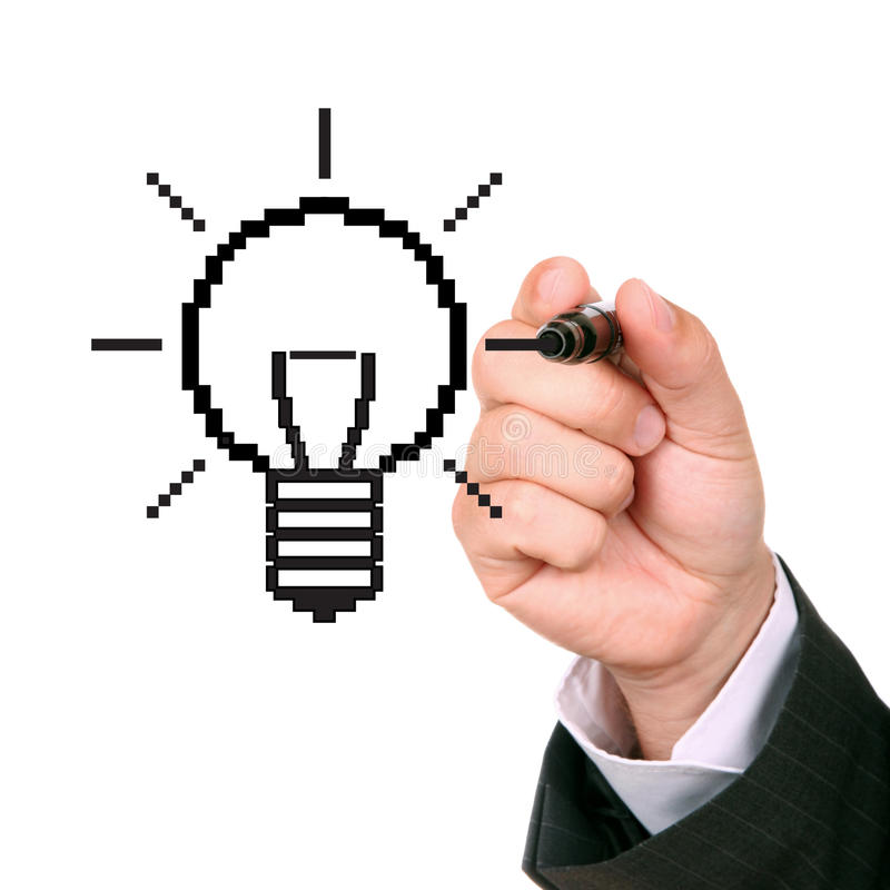 Drawing light bulb. Hand drawing light bulb, made from pixels royalty free stock image