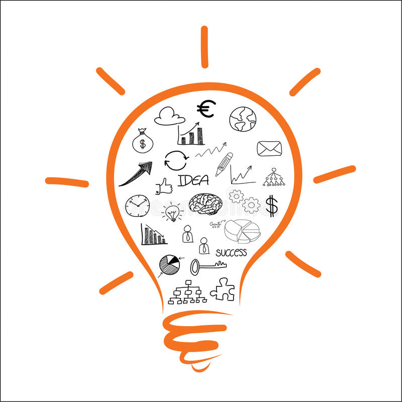 Drawing light bulb business chart royalty free illustration