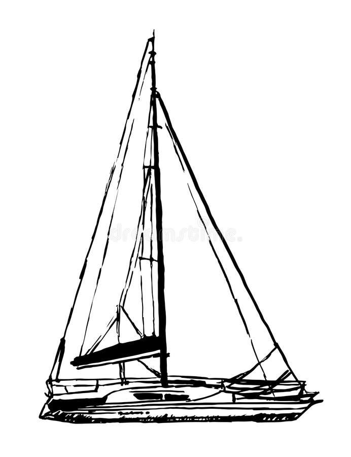 Drawing light sailing yacht sketch illustration royalty free illustration