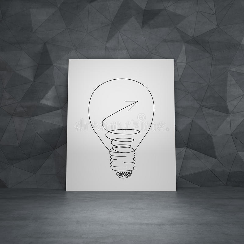 Drawing lightbulb. On white poster in room royalty free stock images