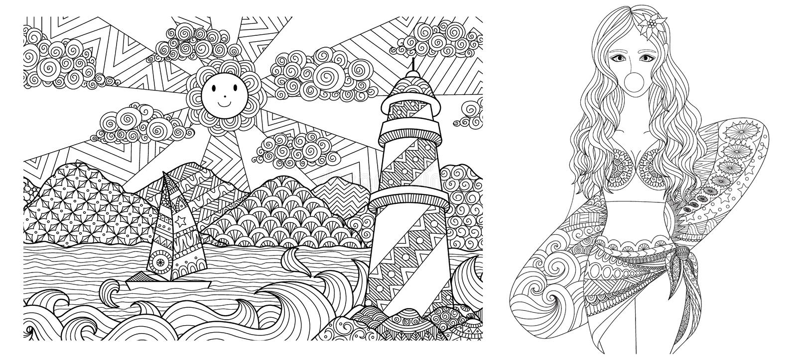 Drawing of Lighthouse and sexy lady on the beach for adult coloring book,coloring and other deign element. Vector illustration vector illustration