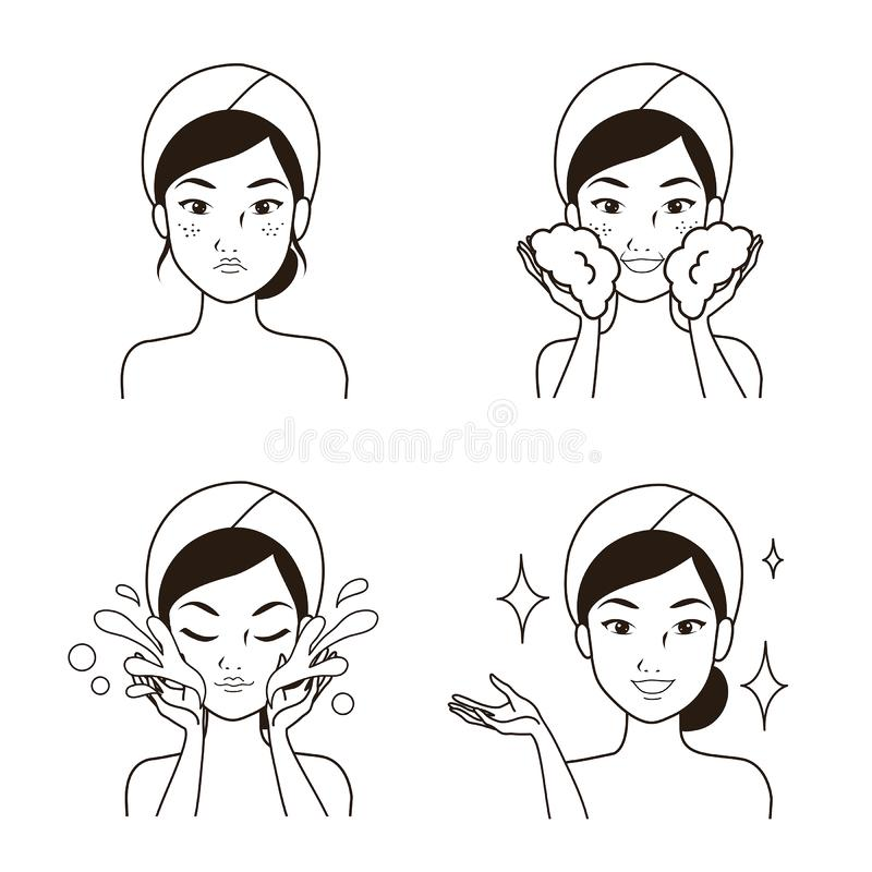 Drawing line step facial cleansing by women. Step facial cleansing, facial acne treatment, face healthy and look younger vector illustration