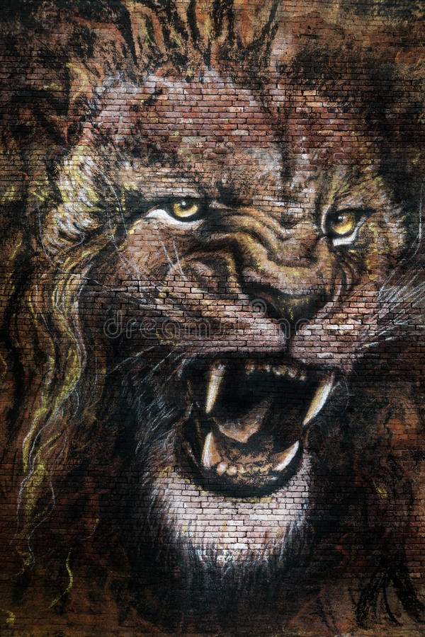 Drawing of lion roaring royalty free stock images