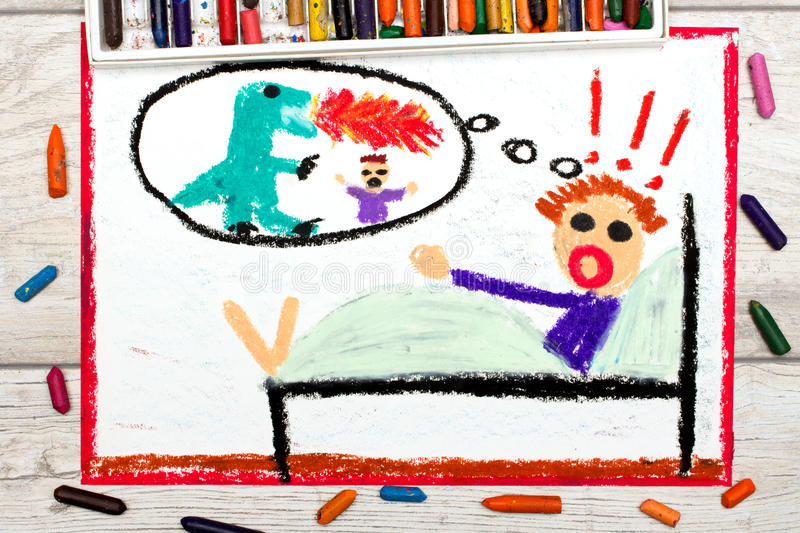 Drawing: little boy has nightmares. Scary nightmare creature. Photo of colorful drawing: little boy has nightmares. Scary nightmare creature stock image