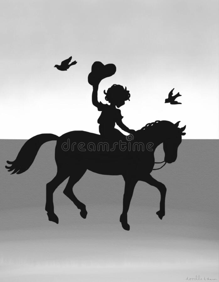 Silhouette Drawing of little boy  on a horse. Drawing of a little boy on a horse in silhouette with birds flying around with gray ombré background royalty free stock images
