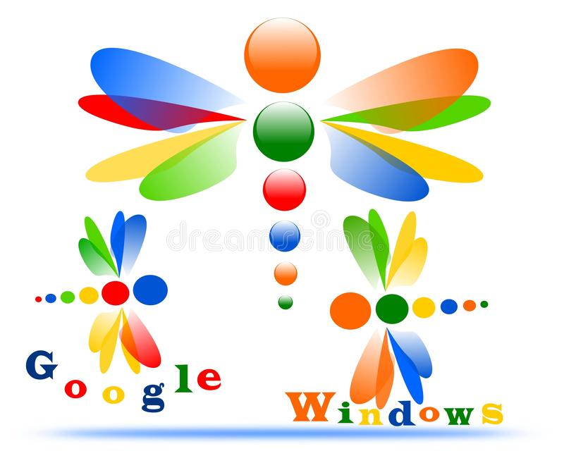 Drawing of the logo of the company Google and Windows. Vector logo Google and Windows, in the style of dragonfly vector illustration