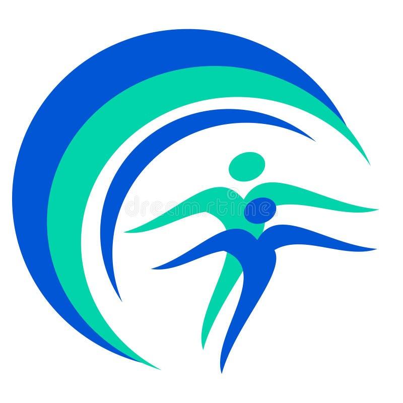 Drawing logo globe of people health. stock illustration