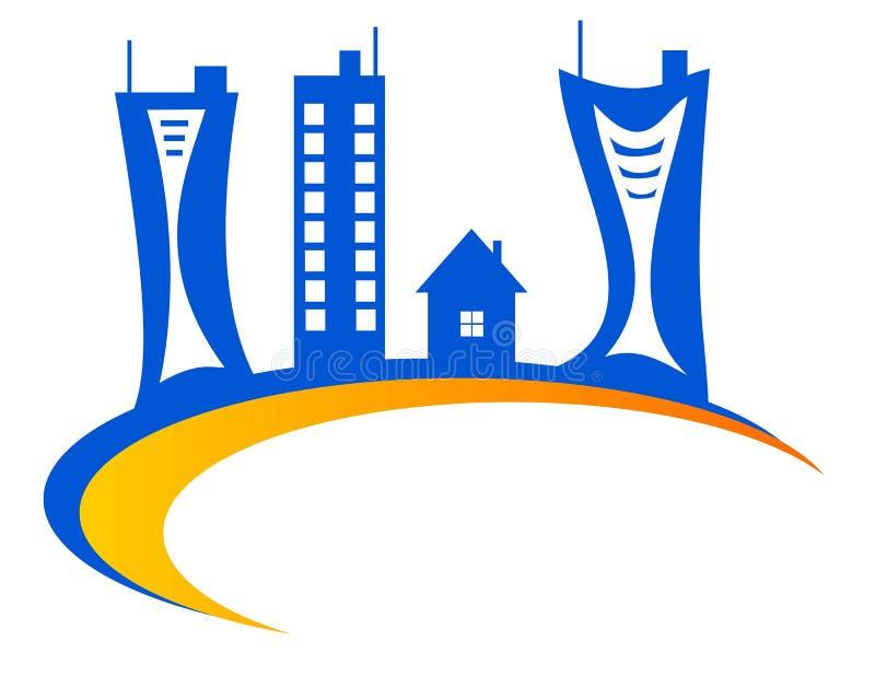 Drawing logo house on the globe. royalty free illustration