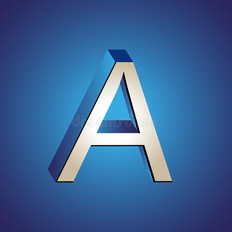 On the drawing, the logo of the letter A vector illustration