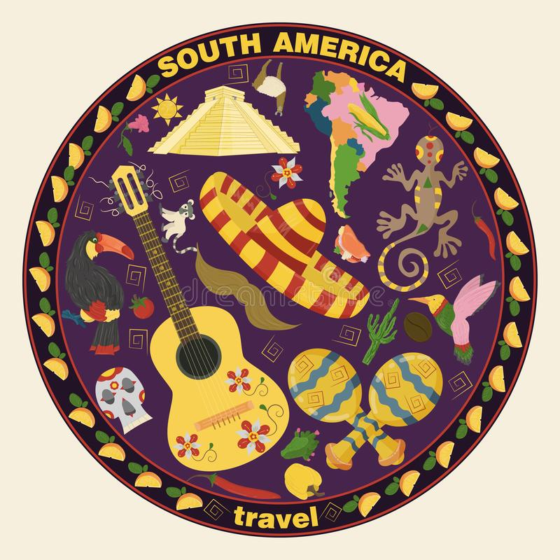 Drawing_10_made in flat style on the theme of South America, animals, buildings, plants, holidays, continent map, food design. Vector drawing in flat style on stock illustration