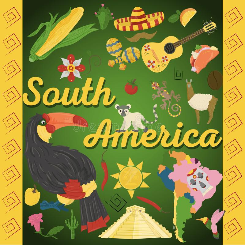 Drawing_2_made in flat style on the theme of South America, animals, buildings, plants, holidays, continent map, food design elem. Vector drawing in flat style vector illustration