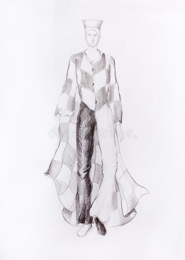 Download drawing male fashion clothes with a checkerboard pattern chess king color pencil sketch