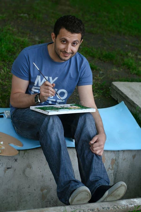 Drawing man royalty free stock photo