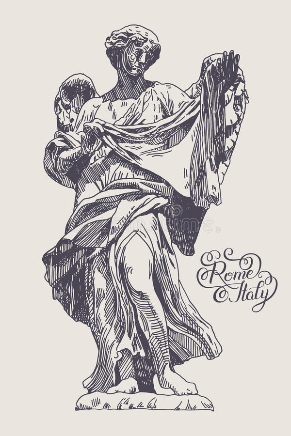 Drawing of marble statue of angel from the Sant'Angelo Bridge in royalty free illustration