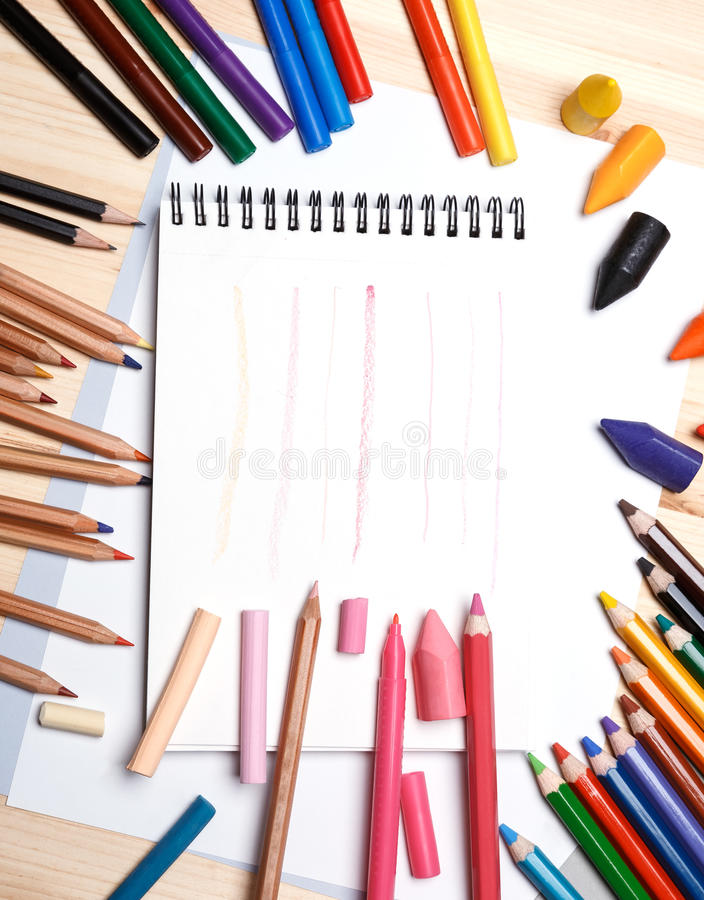 Drawing materials royalty free stock photography
