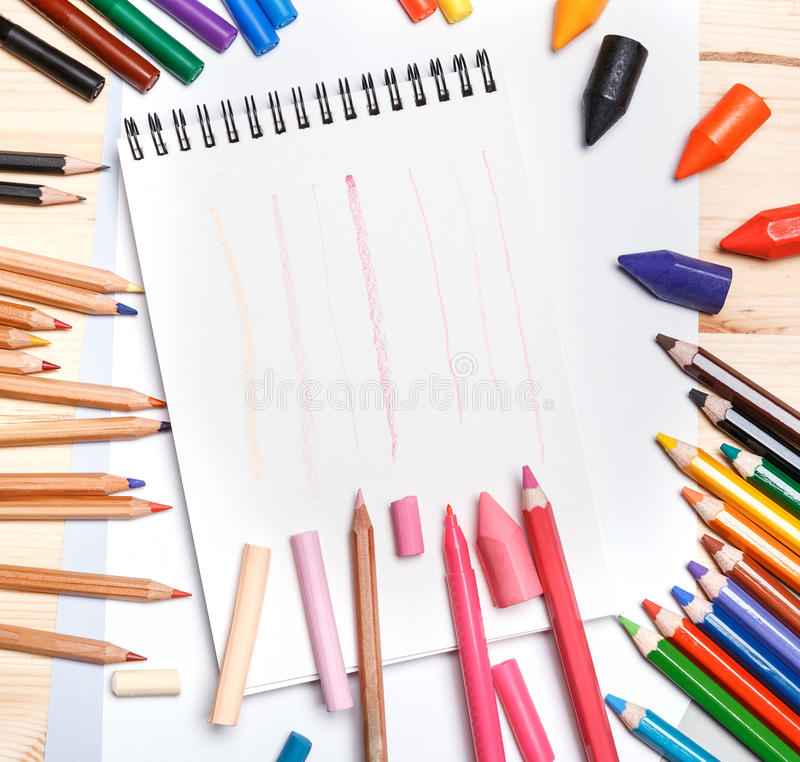 The drawing materials stock photo