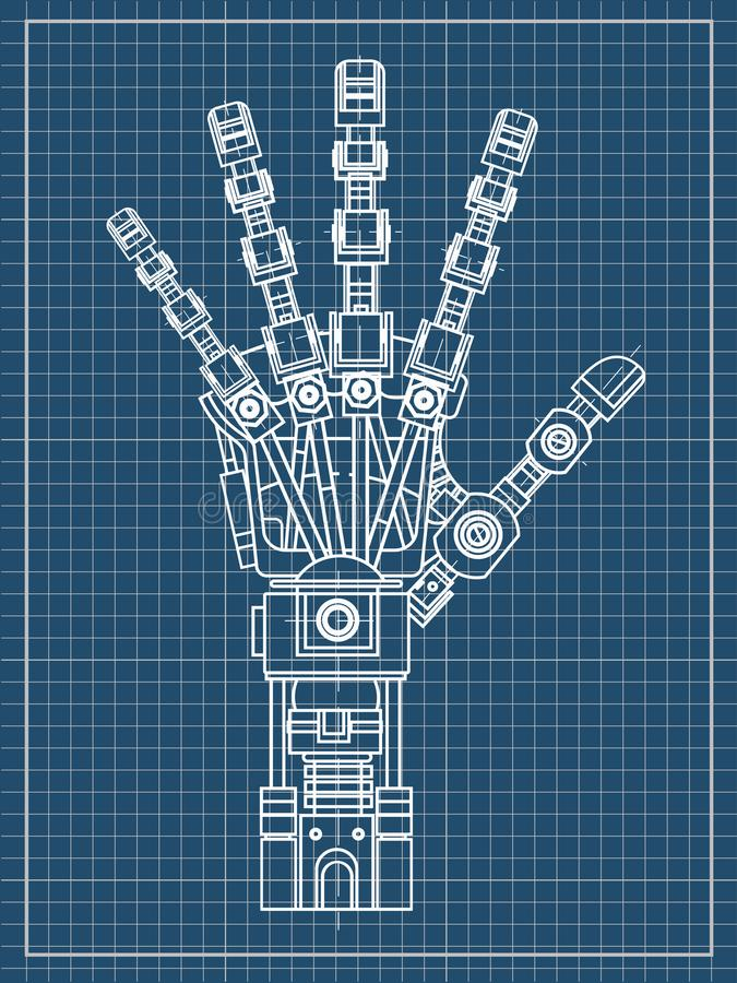 Robot arm. This vector illustration be used as an illustration of robotics ideas, artificial intelligence, bionic. The drawing model of the robot arm. It can be royalty free illustration