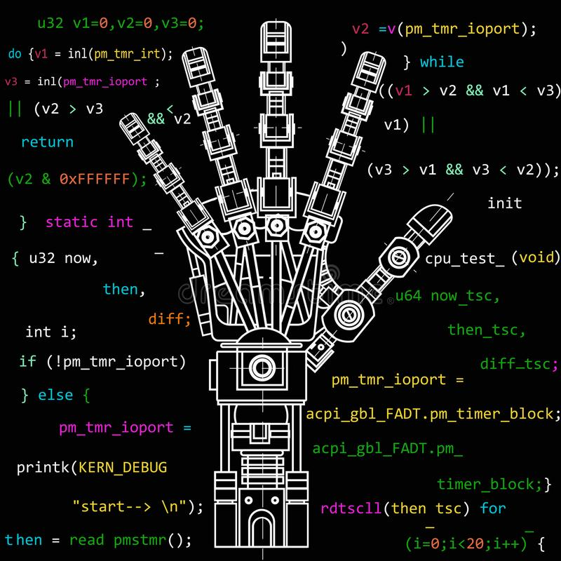 The drawing model of the robot arm. This vector illustration be used as an illustration of robotics ideas, artificial. The drawing model of the robot arm. It can vector illustration