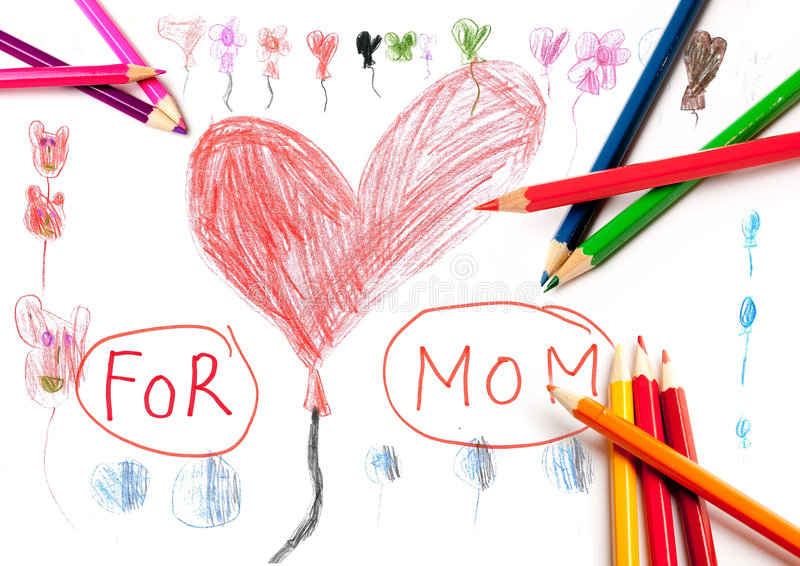 Drawing for Mom stock illustration