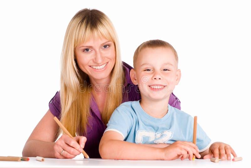 drawing mom son стоковое изображение